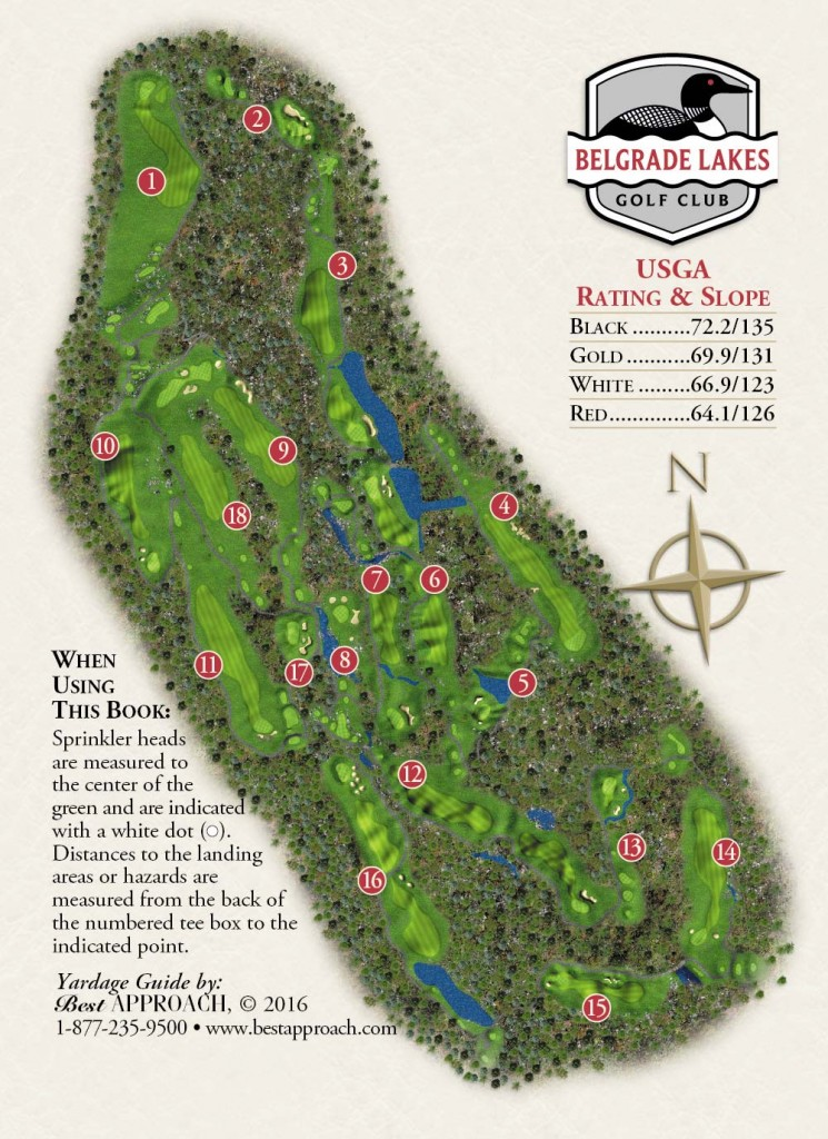 Yardage Book - Belgrade Lakes on golf course layout maps, golf green maps, golf courses map of us, golf yardage book,